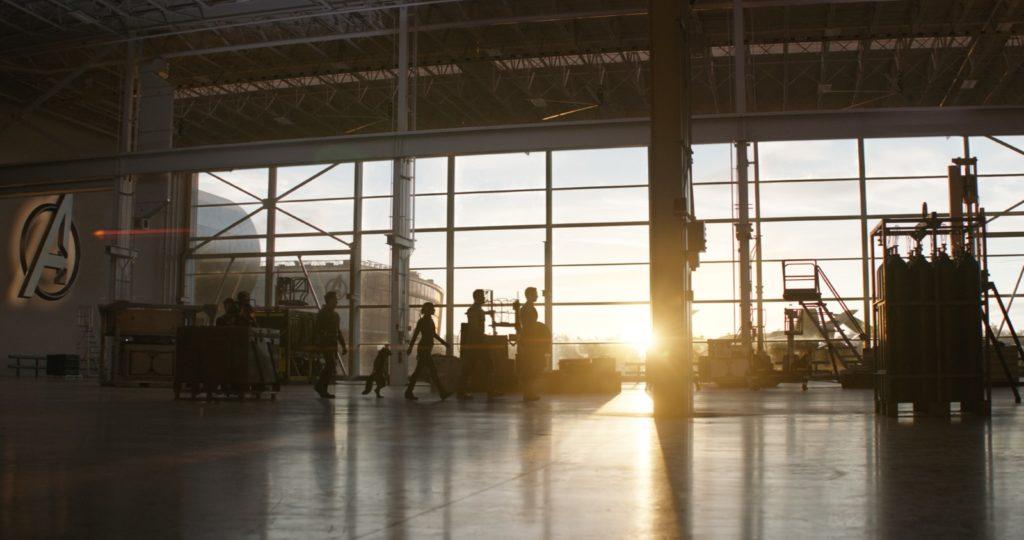 L-R: Hawkeye/Clint Barton (Jeremy Renner), War Machine/James Rhodes (Don Cheadle), Ant-Man/Scott Lang (Paul Rudd), Rocket (voiced by Bradley Cooper), Black Widow/Natasha Romanoff (Scarlet Johansson), Thor (Chris Hemsworth) and Captain America/Steve Rogers (Chris Evans)