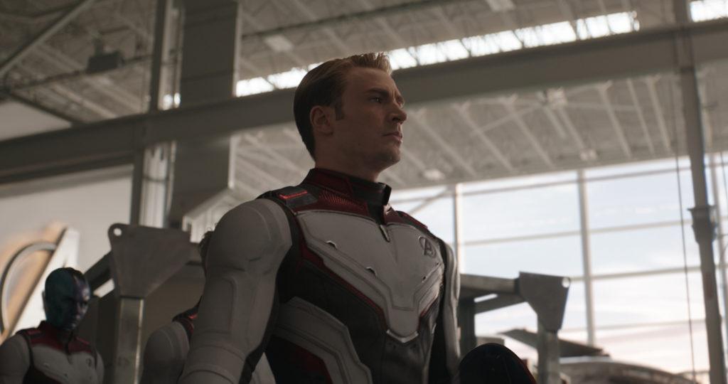 Nebula (Karen Gillan) and Captain America/Steve Rogers (Chris Evans)